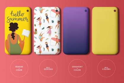 variations of the top view smart phone back cover mockup
