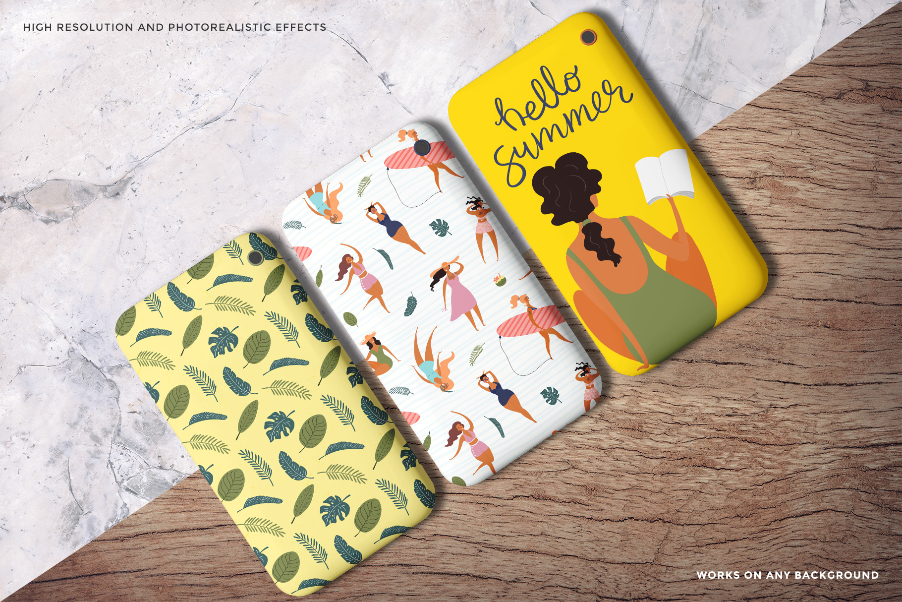 background variations of the top view smart phone back cover mockup