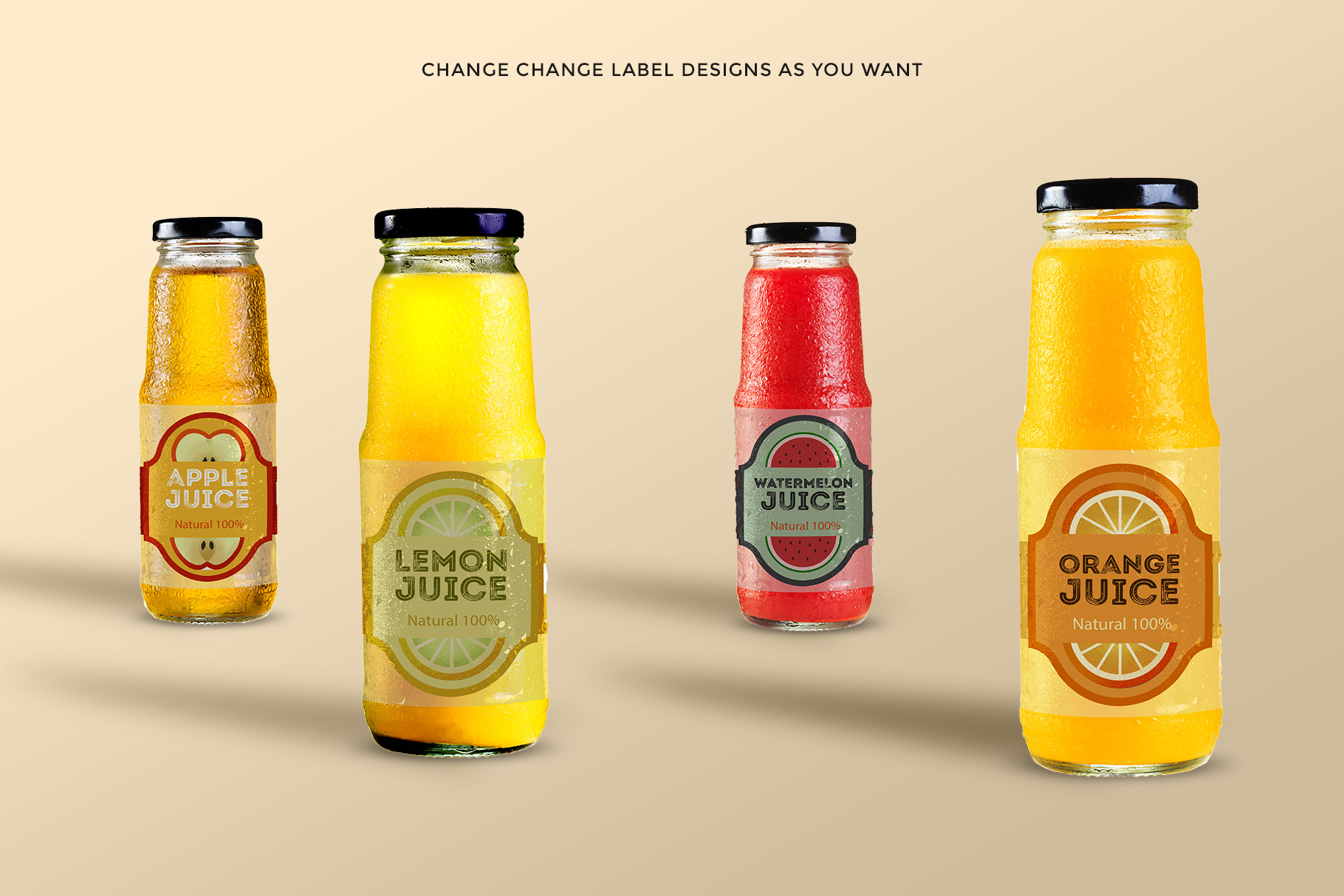 variations of the fruit juice glass container mockup
