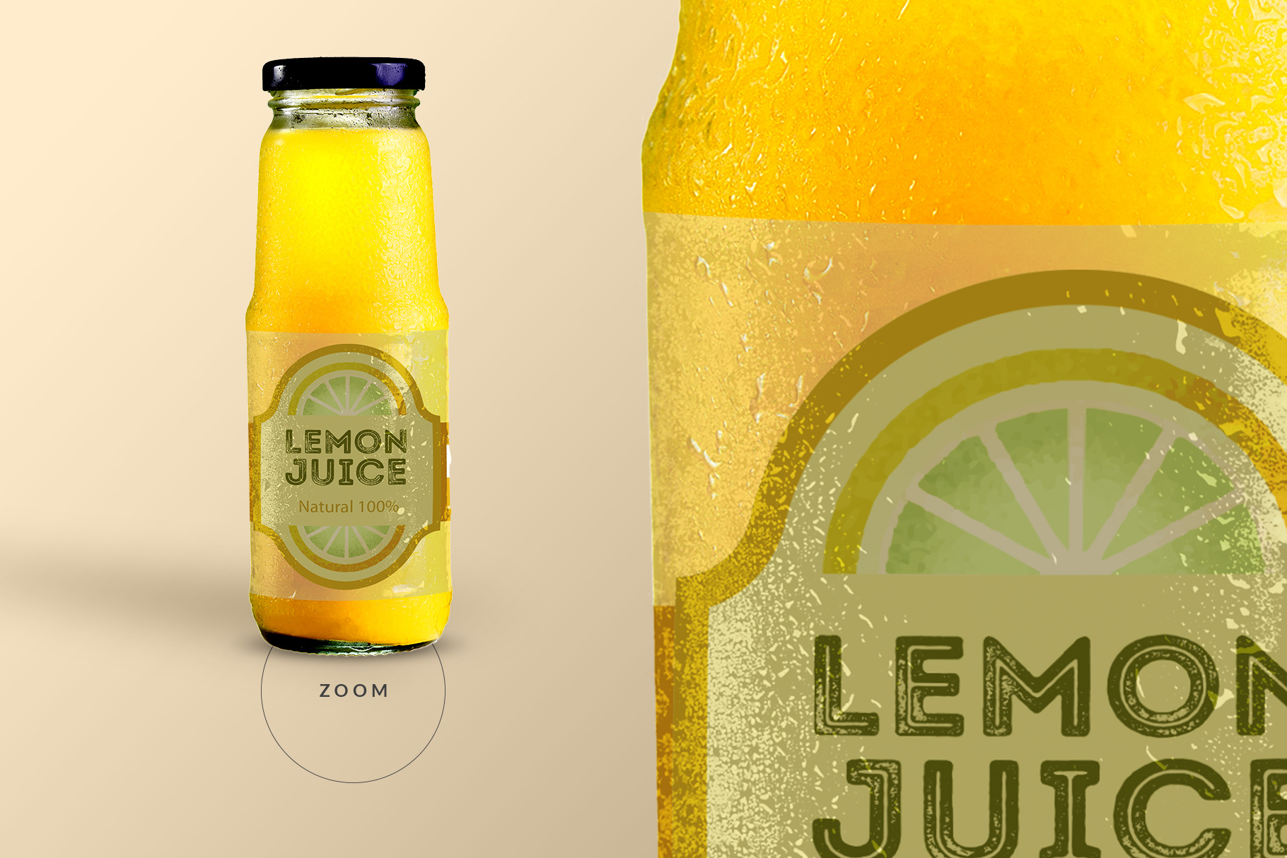 zoomed in image of the fruit juice glass container mockup