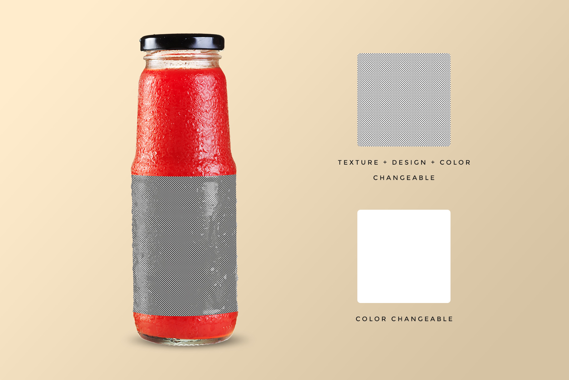 editability of the fruit juice glass container mockup