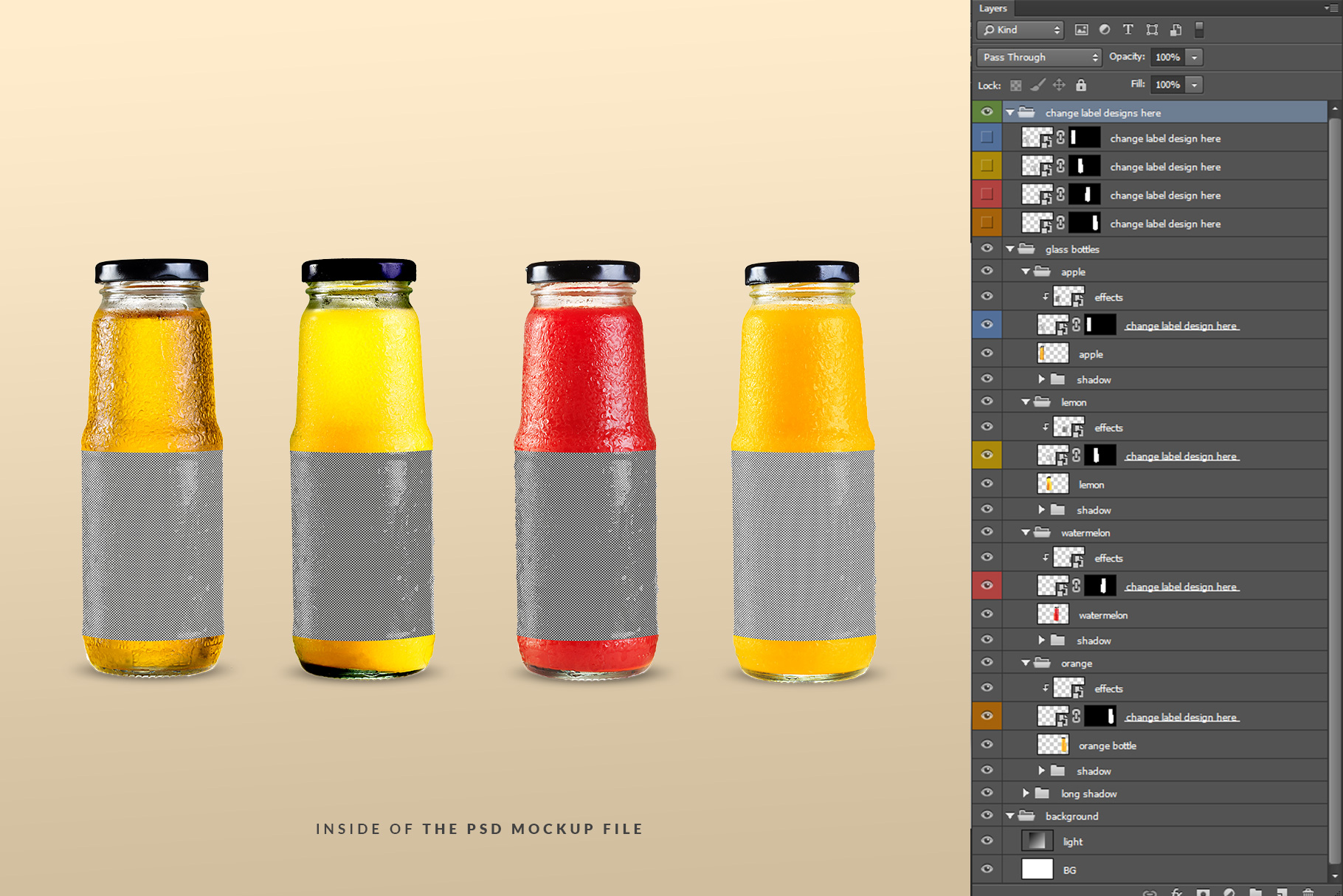 inside of the psd file of the fruit juice glass container mockup