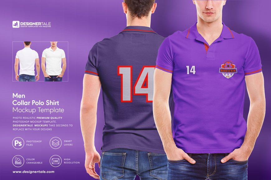 men collar polo shirt mockup