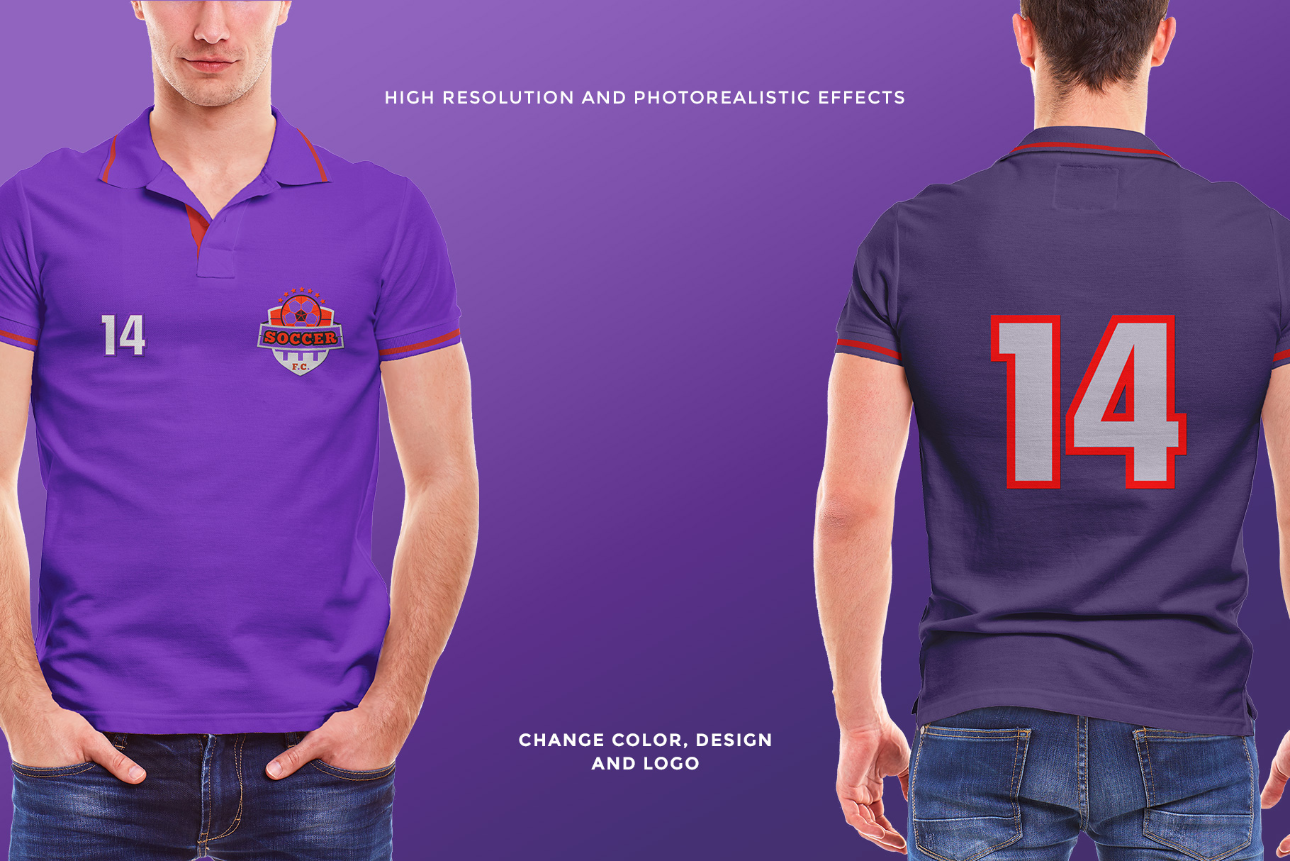features of the men collar polo shirt mockup