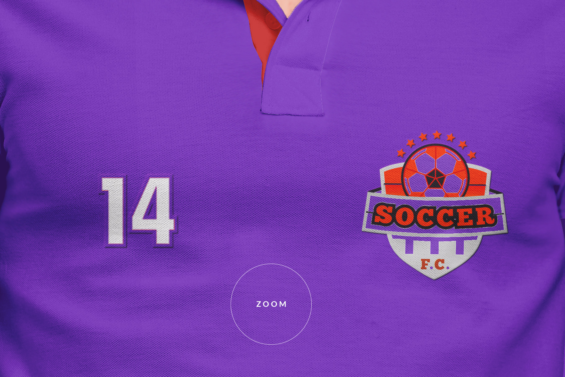 zoomed in image of the men collar polo shirt mockup