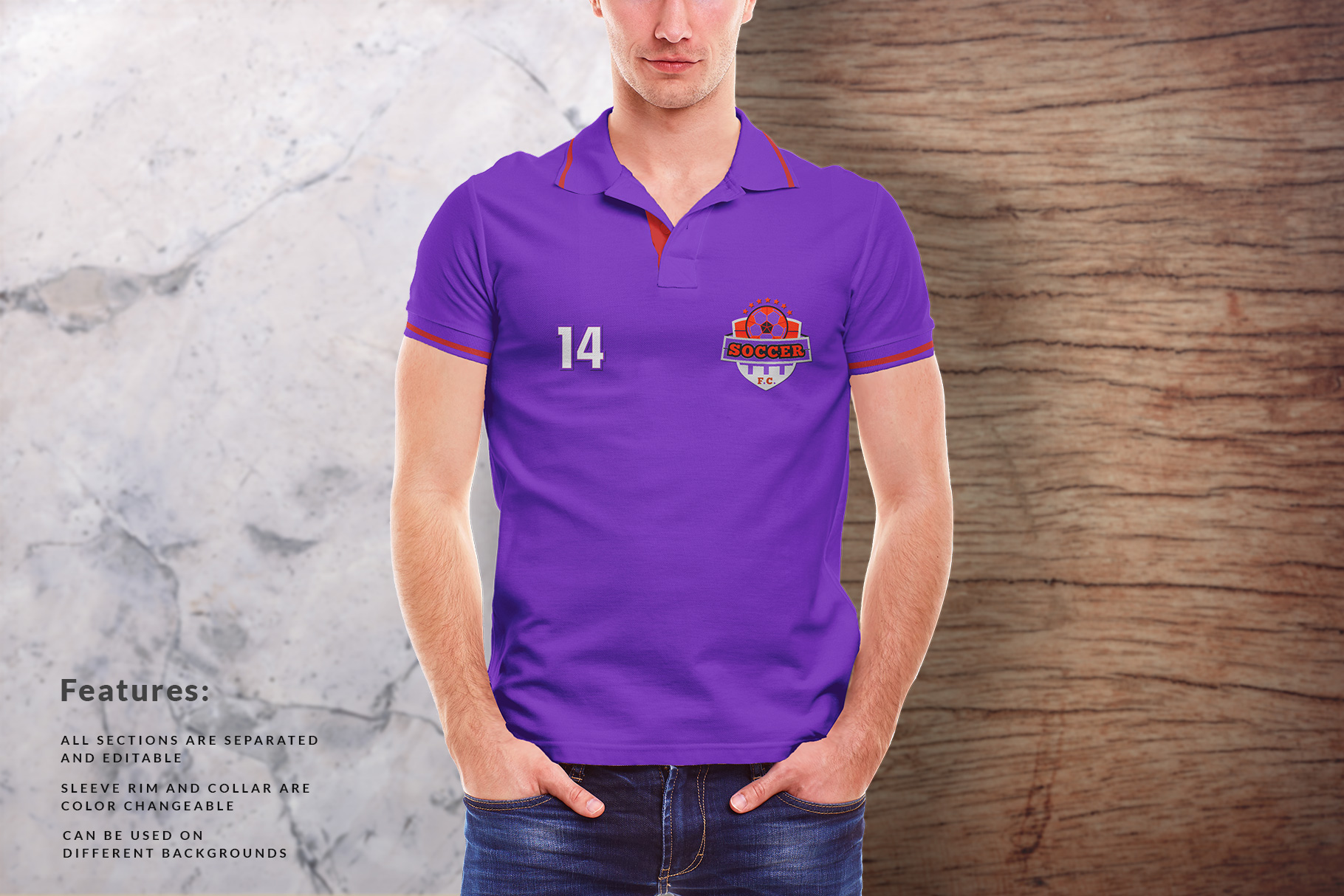 background options of the men collar polo shirt mockup