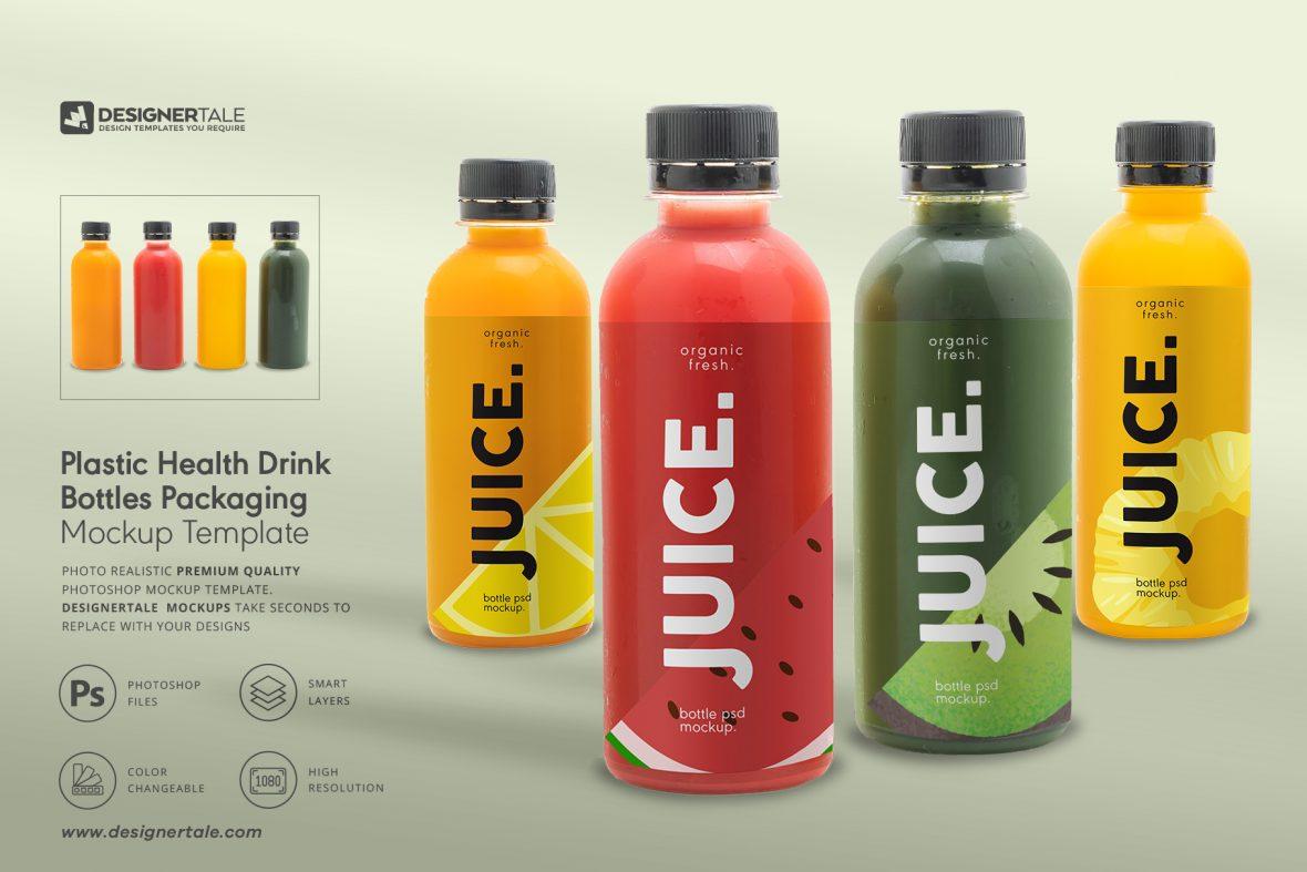 plastic health drink bottles packaging mockup