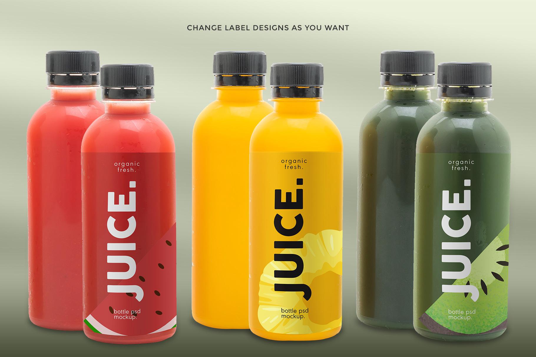 variations of the plastic health drink bottles packaging mockup