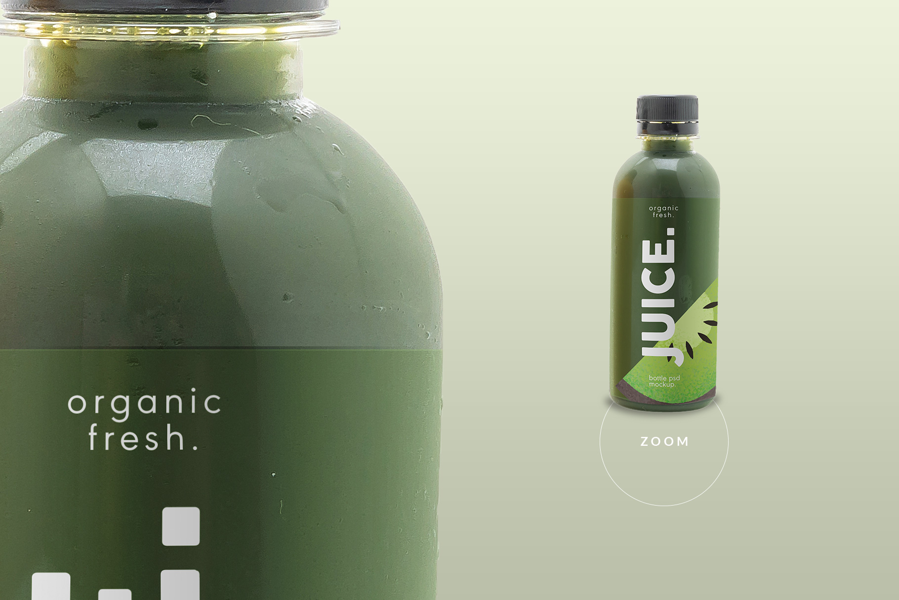 zoomed in image of the plastic health drink bottles packaging mockup