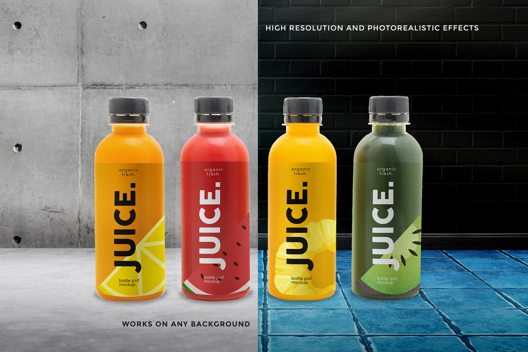 background options of plastic health drink bottles packaging mockup