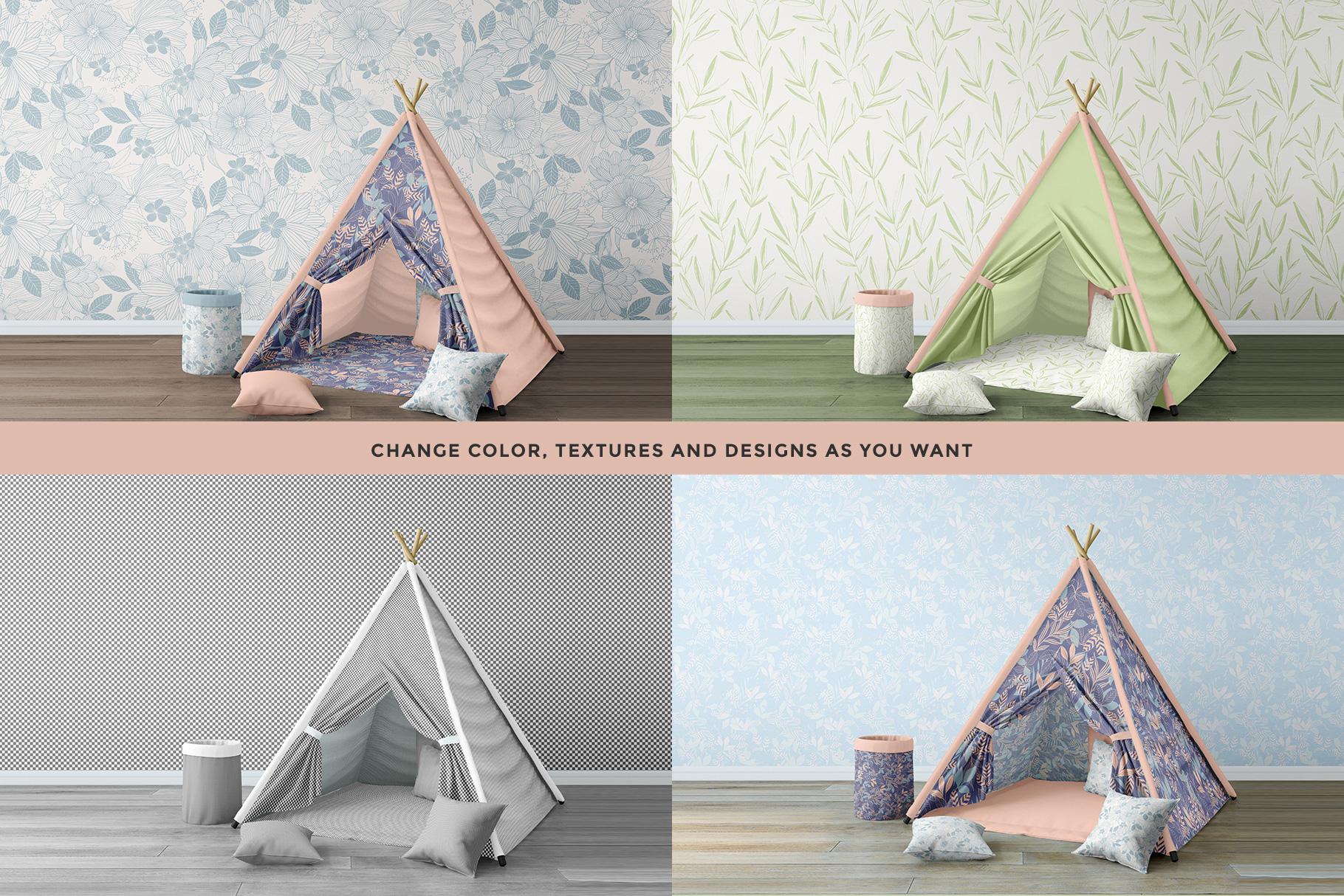 design variations of the infant playroom interior mockup