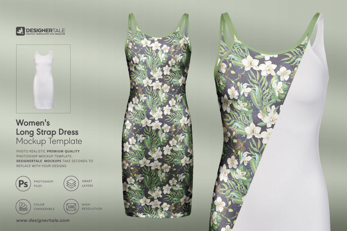 women's long strap dress mockup