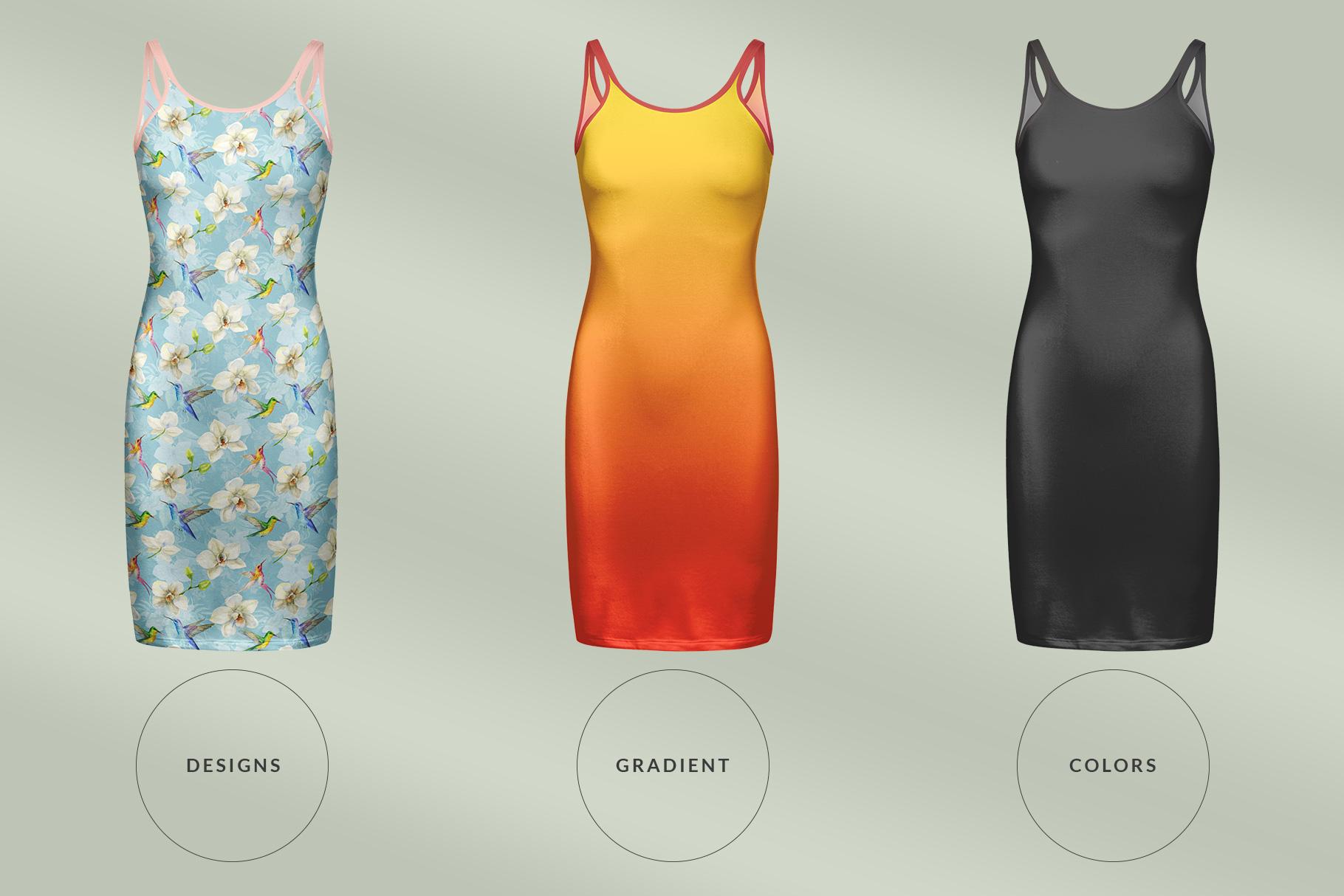 types of the women's long strap dress mockup