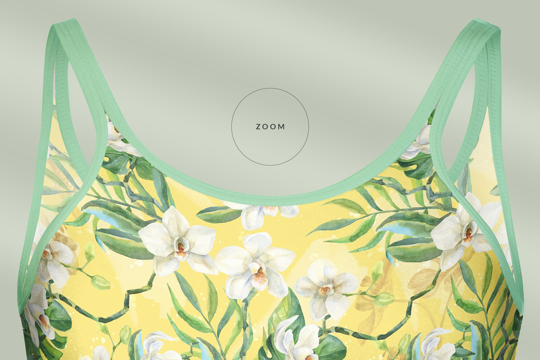 zoomed in image of the women's long strap dress mockup