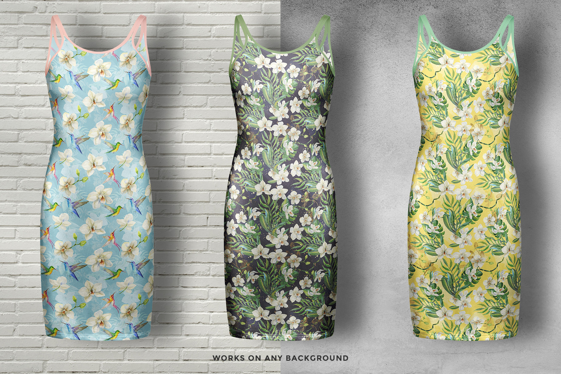 background options of the women's long strap dress mockup