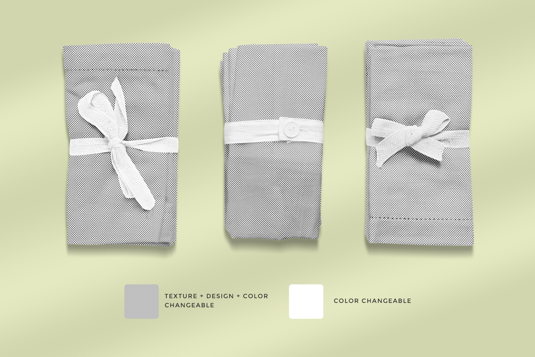 editability of the top view rolled linen dinner napkin mockup