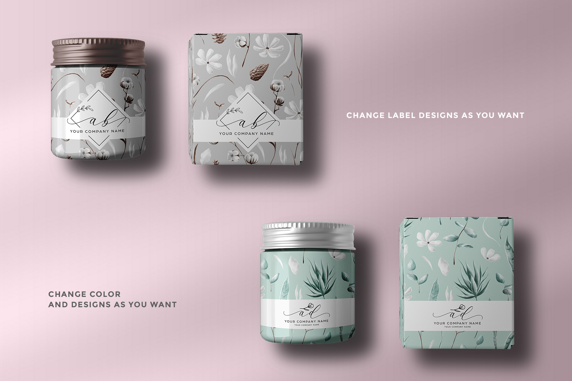 features of the top view cosmetic bottle and box packaging mockup