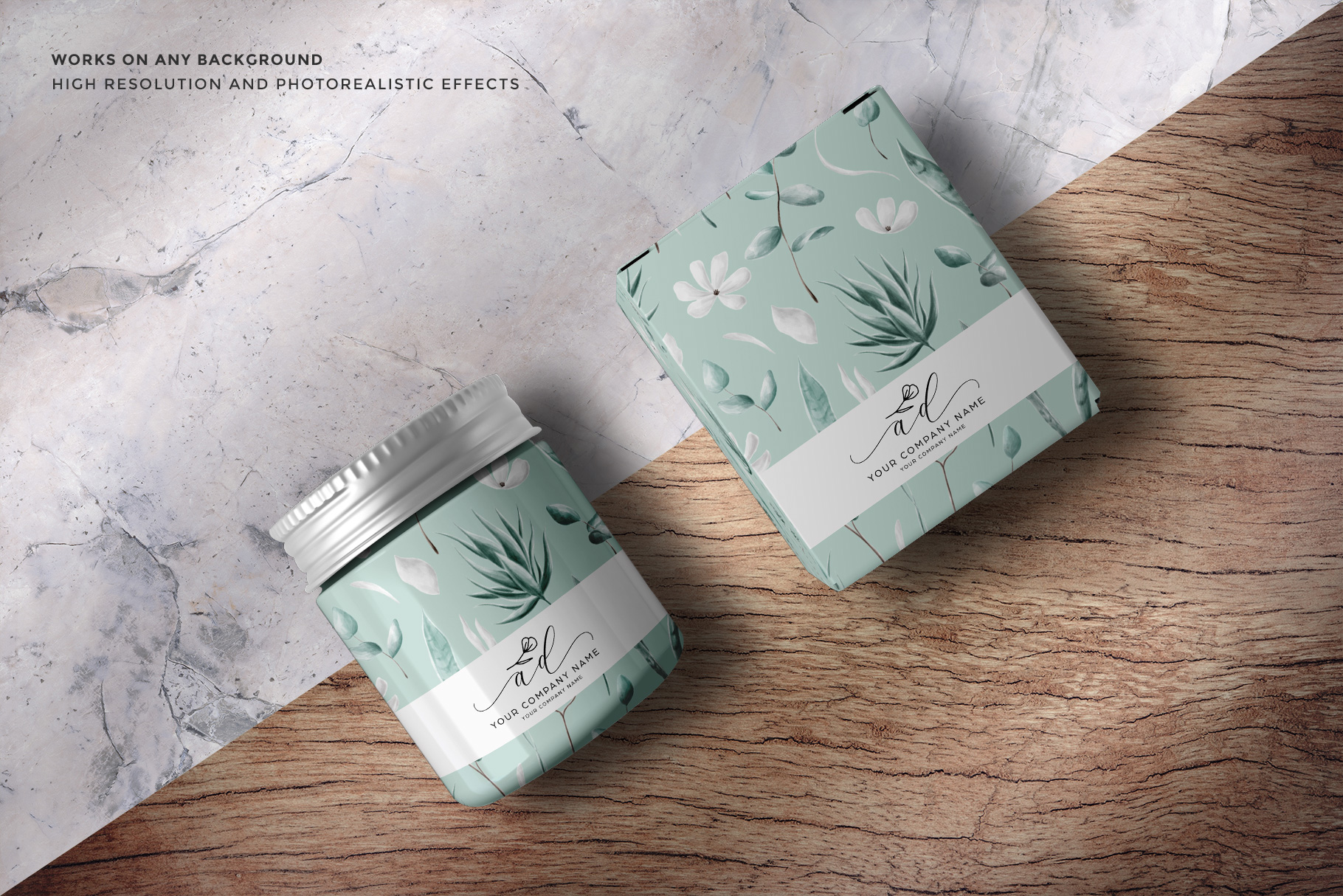 background options of the top view cosmetic bottle and box packaging mockup