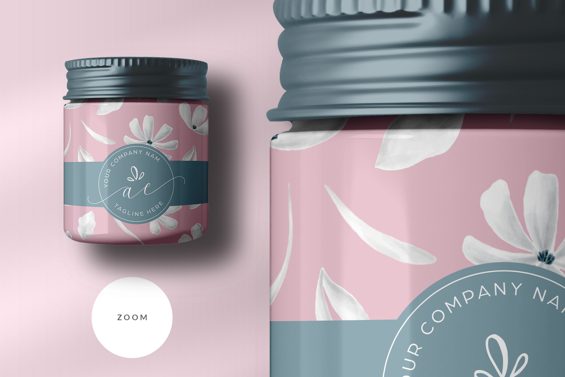 zoomed in image of the top view cosmetic bottle and box packaging mockup