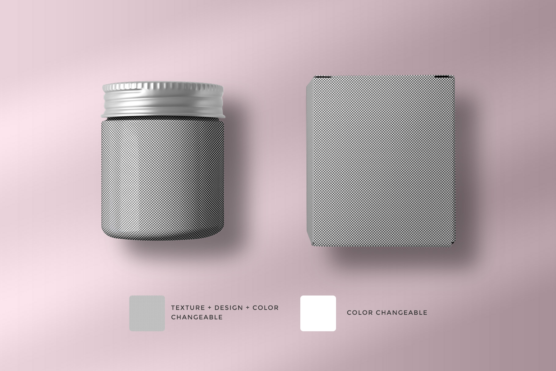 editability of the top view cosmetic bottle and box packaging mockup