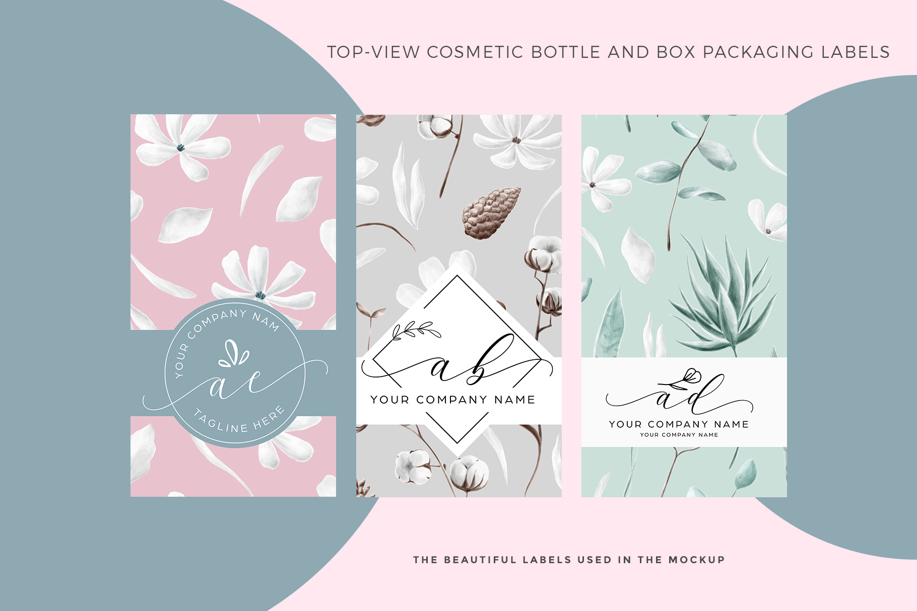 label design examples of the top view cosmetic bottle and box packaging mockup