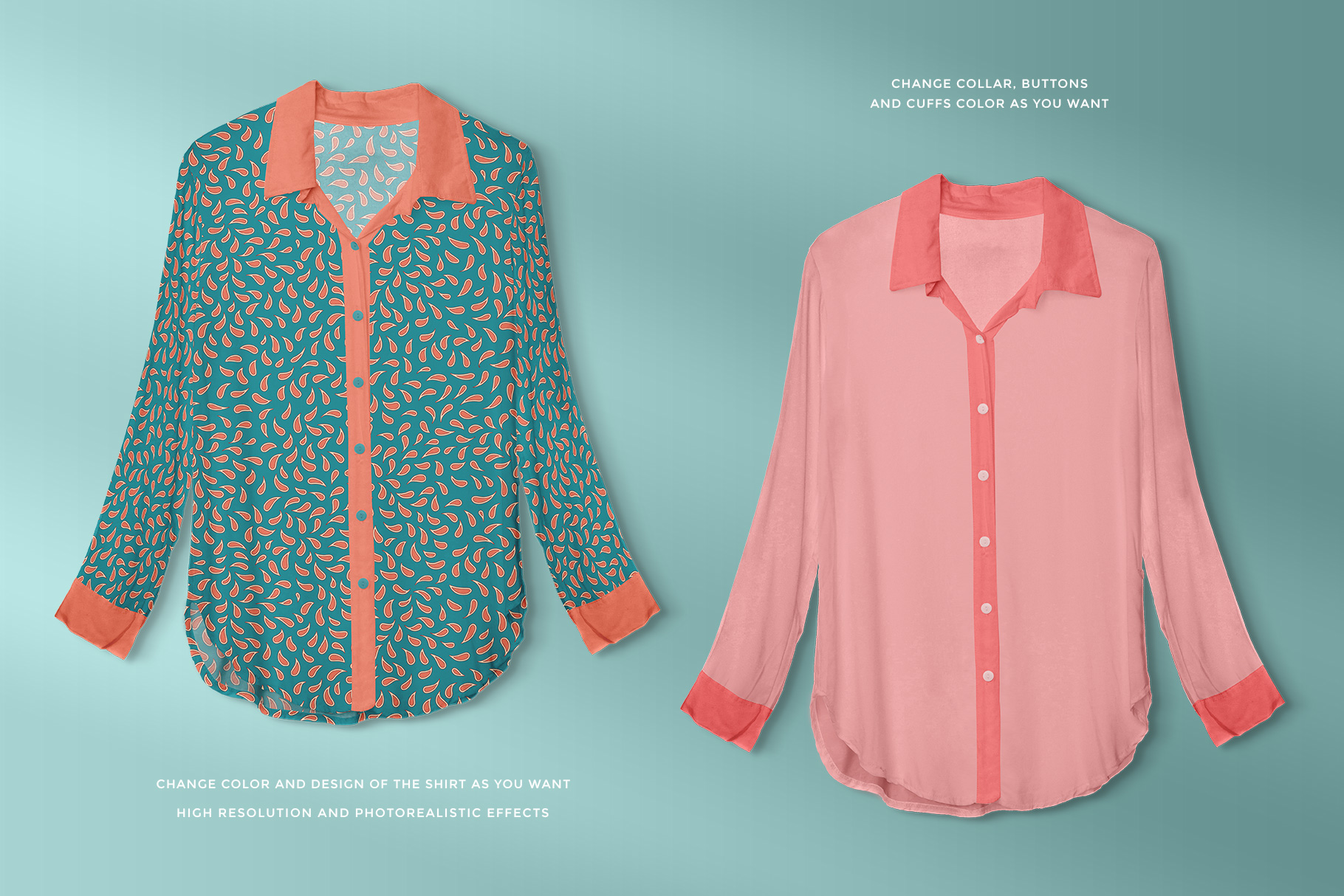 features of the female long sleeve shirt mockup