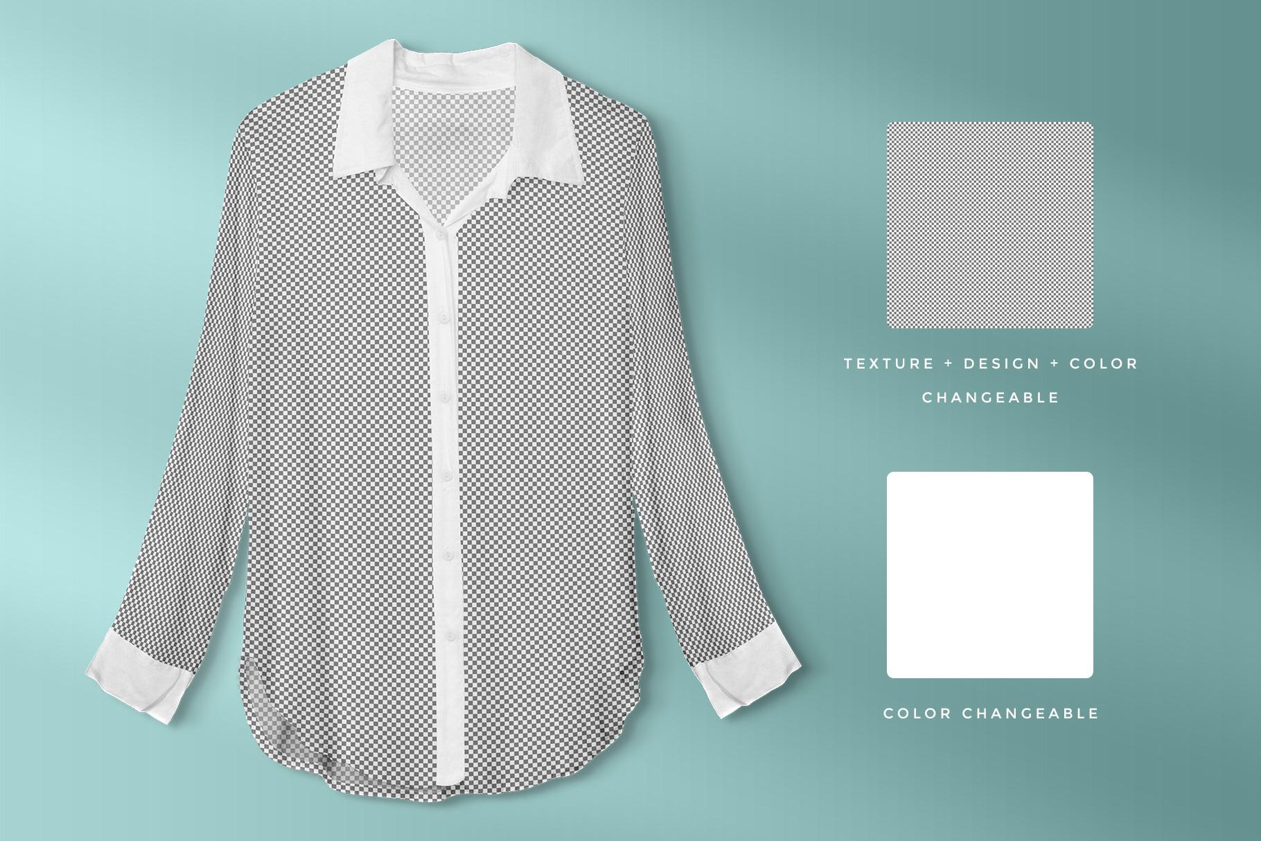 editability of the female long sleeve shirt mockup