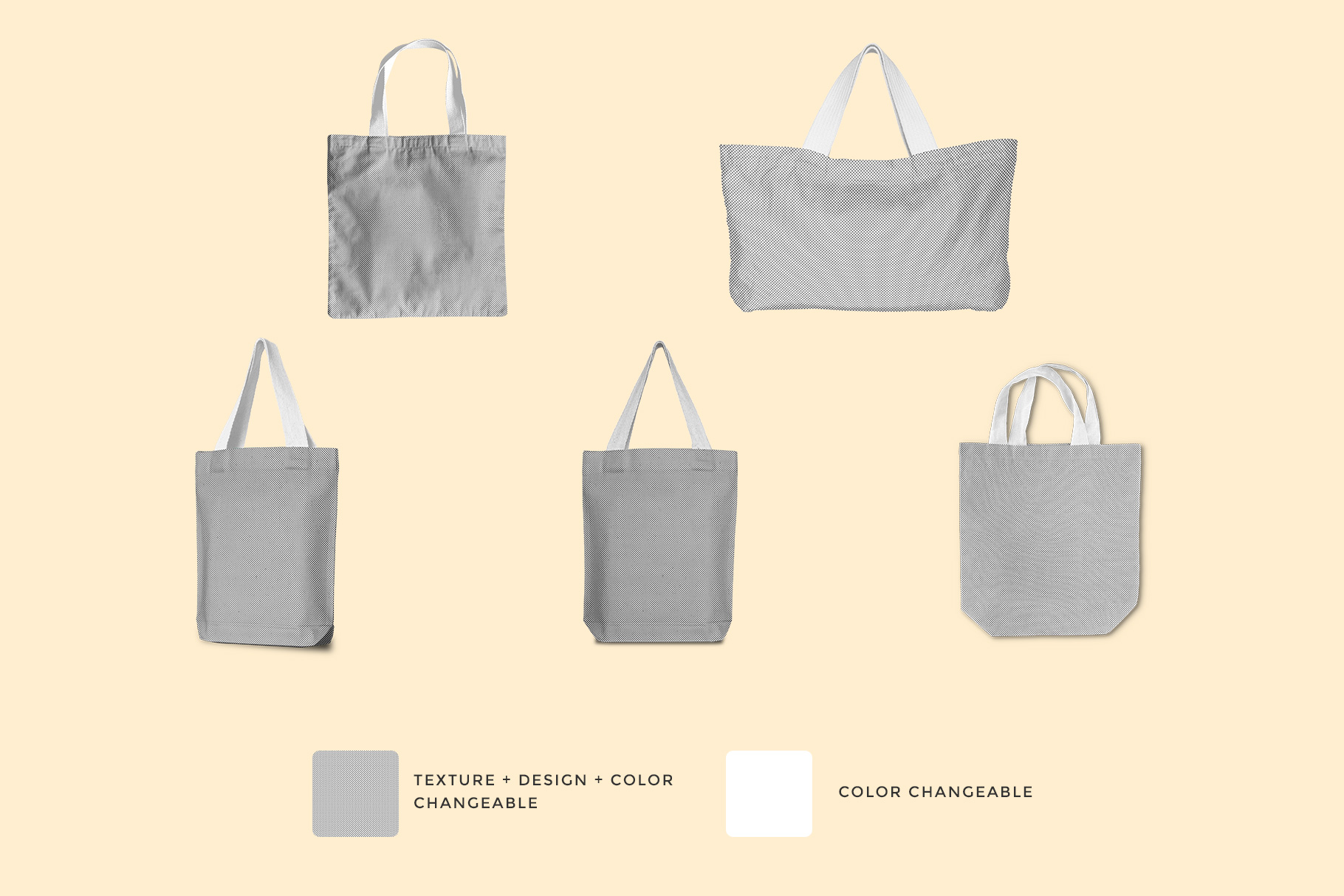 different types of tote bag mockup images used to create the tote bag mockup set