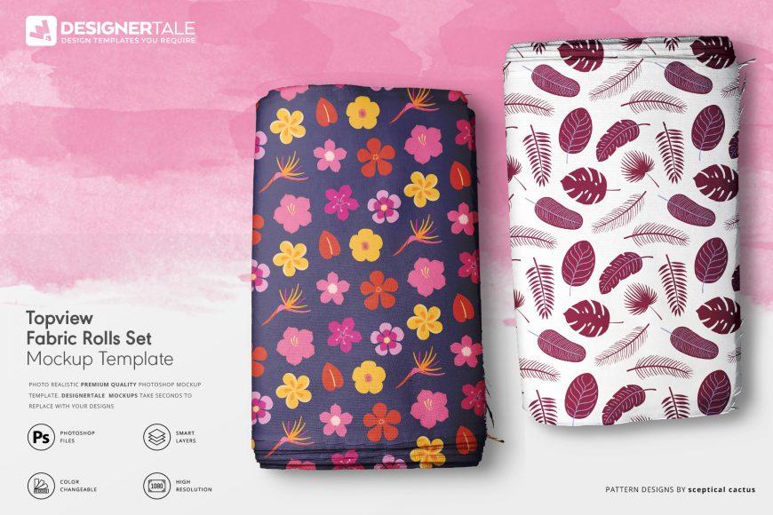top view fabric rolls mockup set