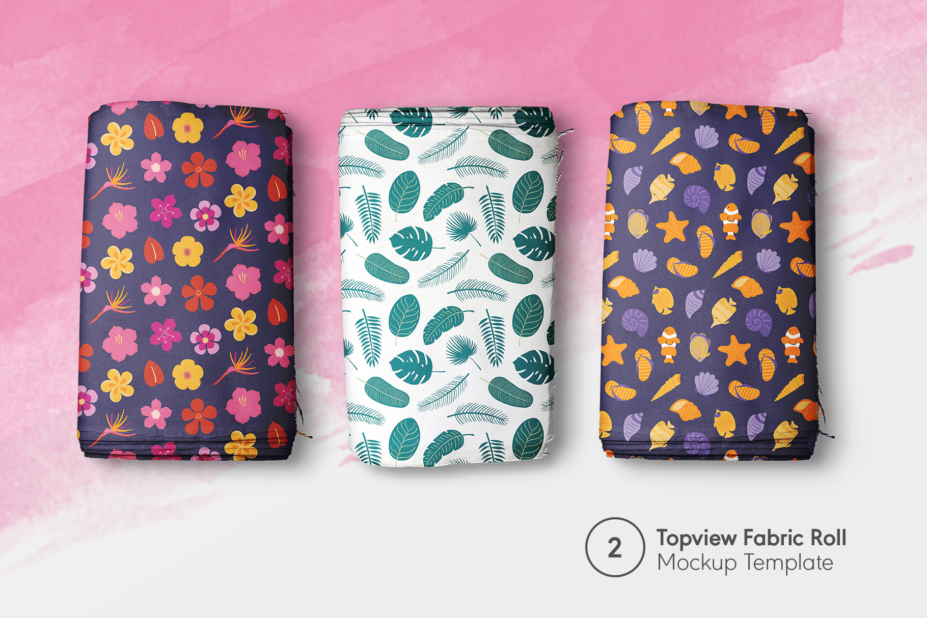preview 2 of the top view fabric rolls mockup set