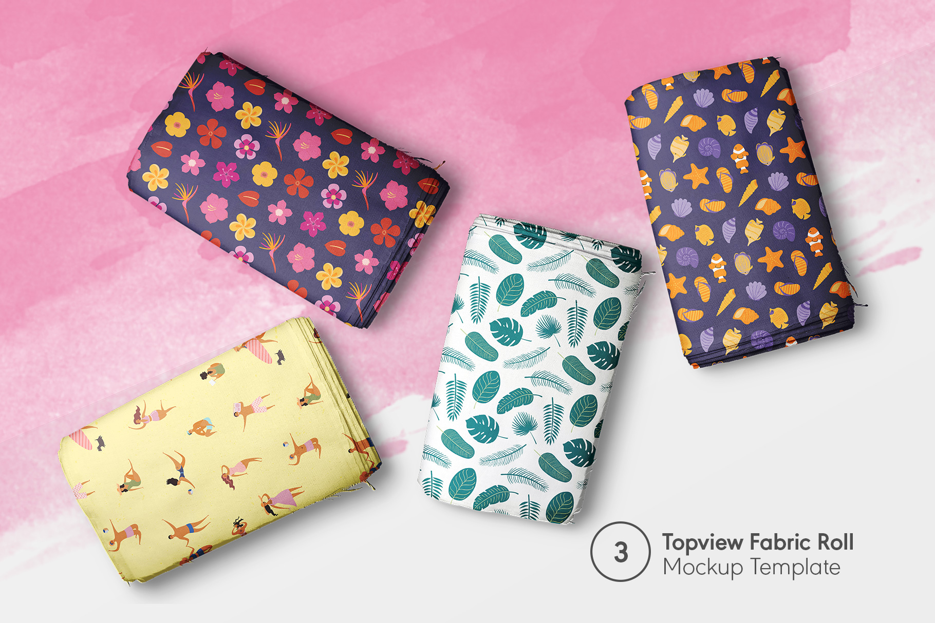 preview 3 of the top view fabric rolls mockup set