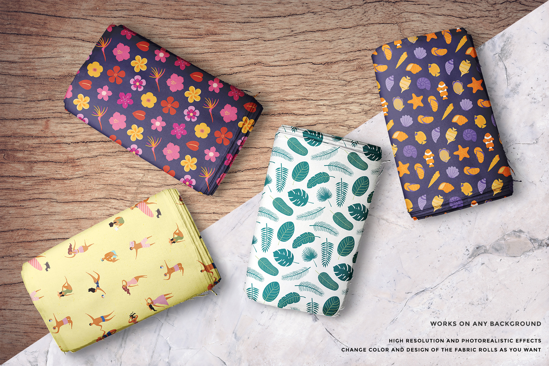 background options of the top view fabric rolls mockup set