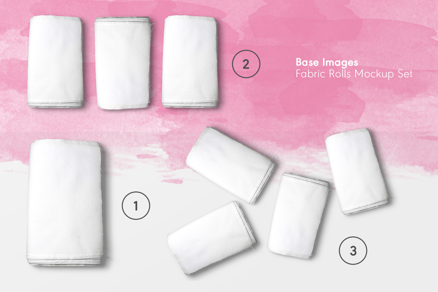 base images of the top view fabric rolls mockup set