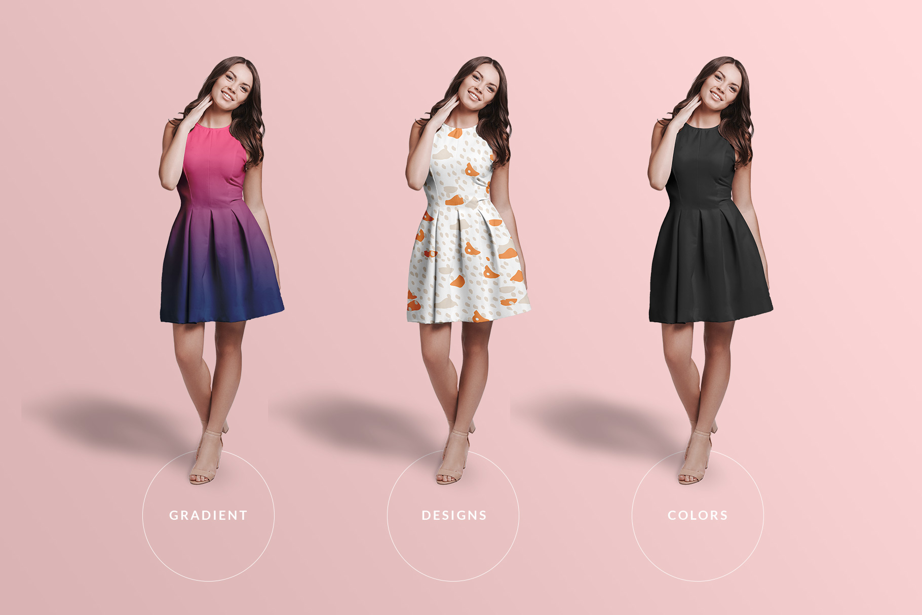 types of the female short party dress mockup