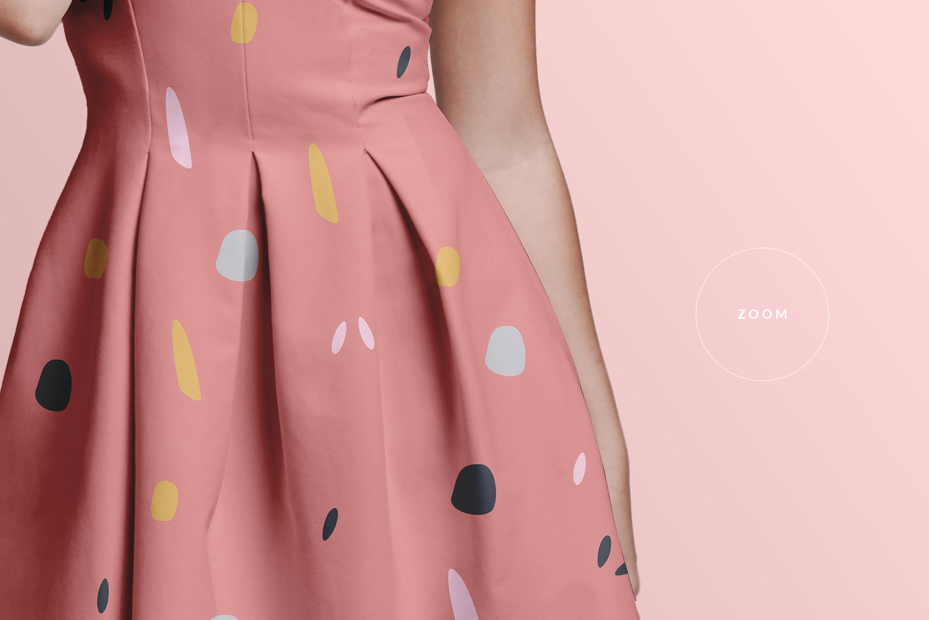 zoomed in image of the female short party dress mockup