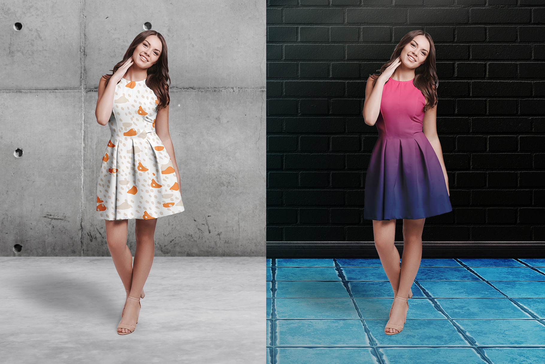 background options of the female short party dress mockup