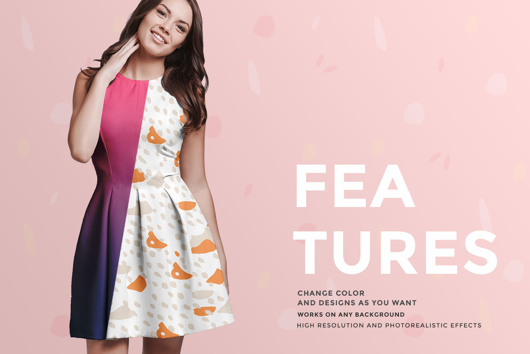 features of the female short party dress mockup