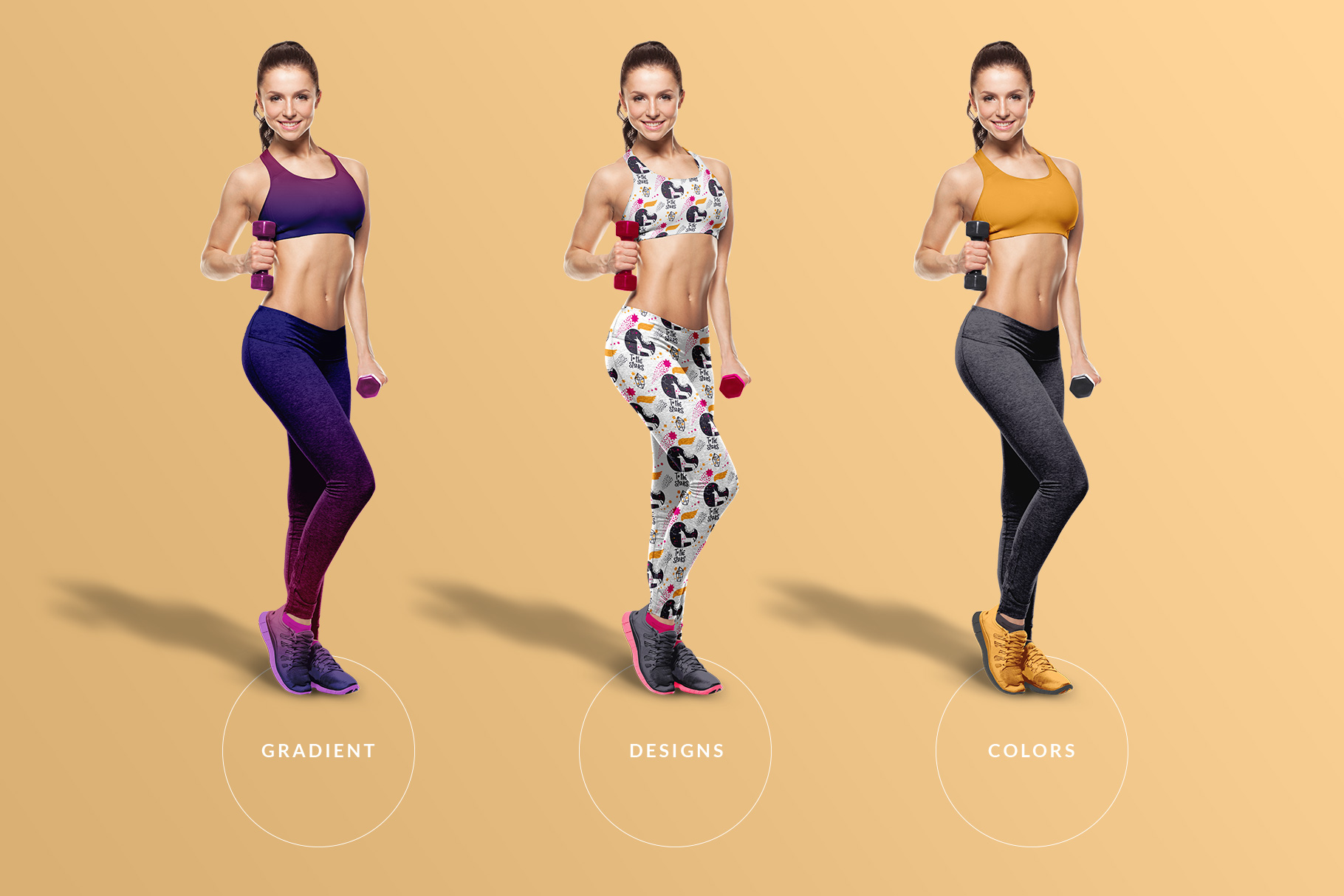 types of the female fitness outfit mockup