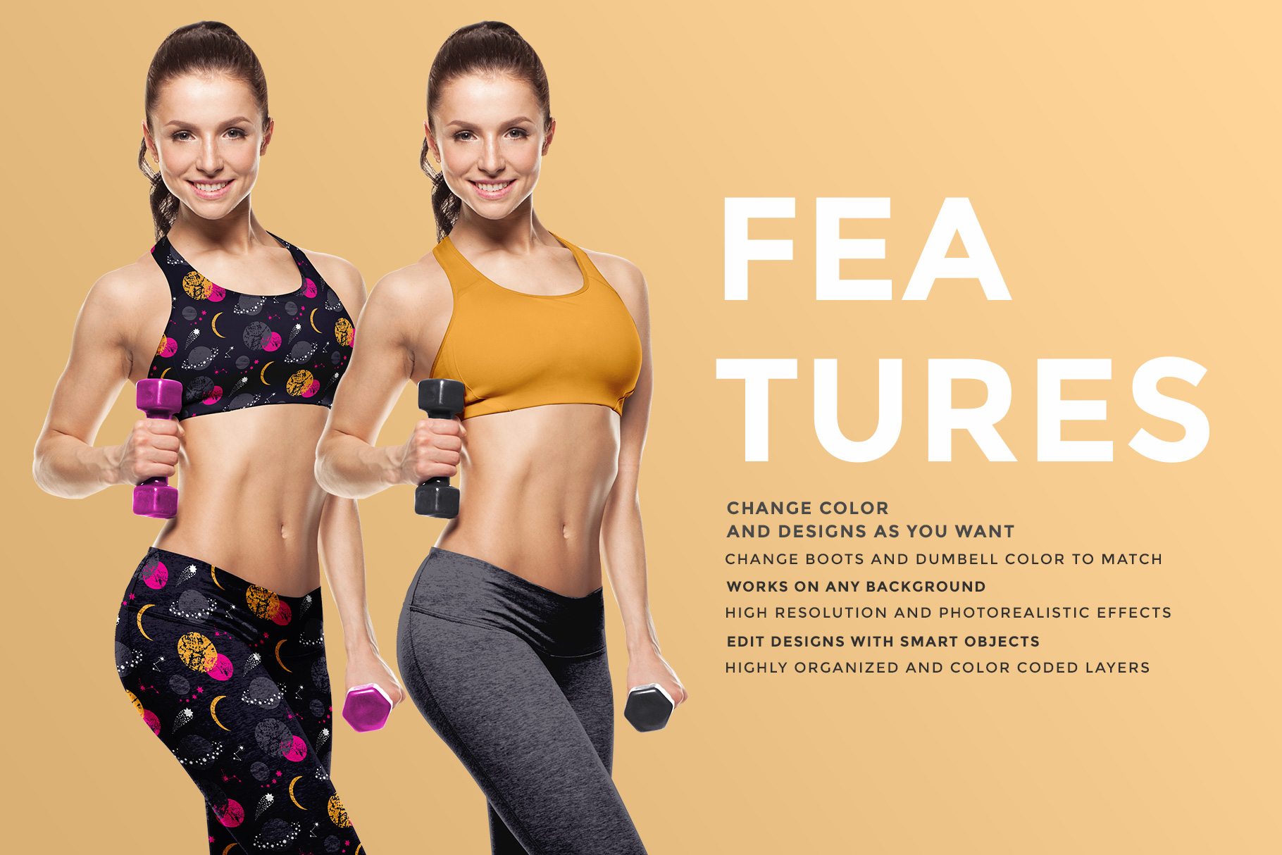 features of the female fitness outfit mockup