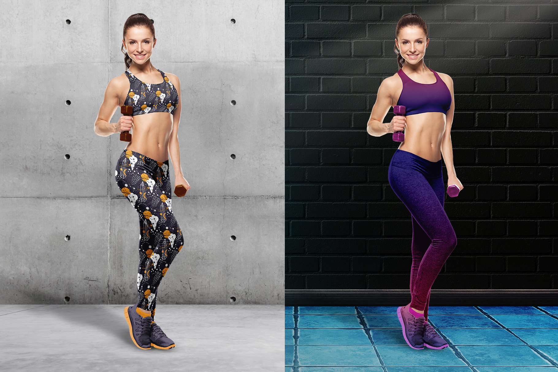 background options of the female fitness outfit mockup