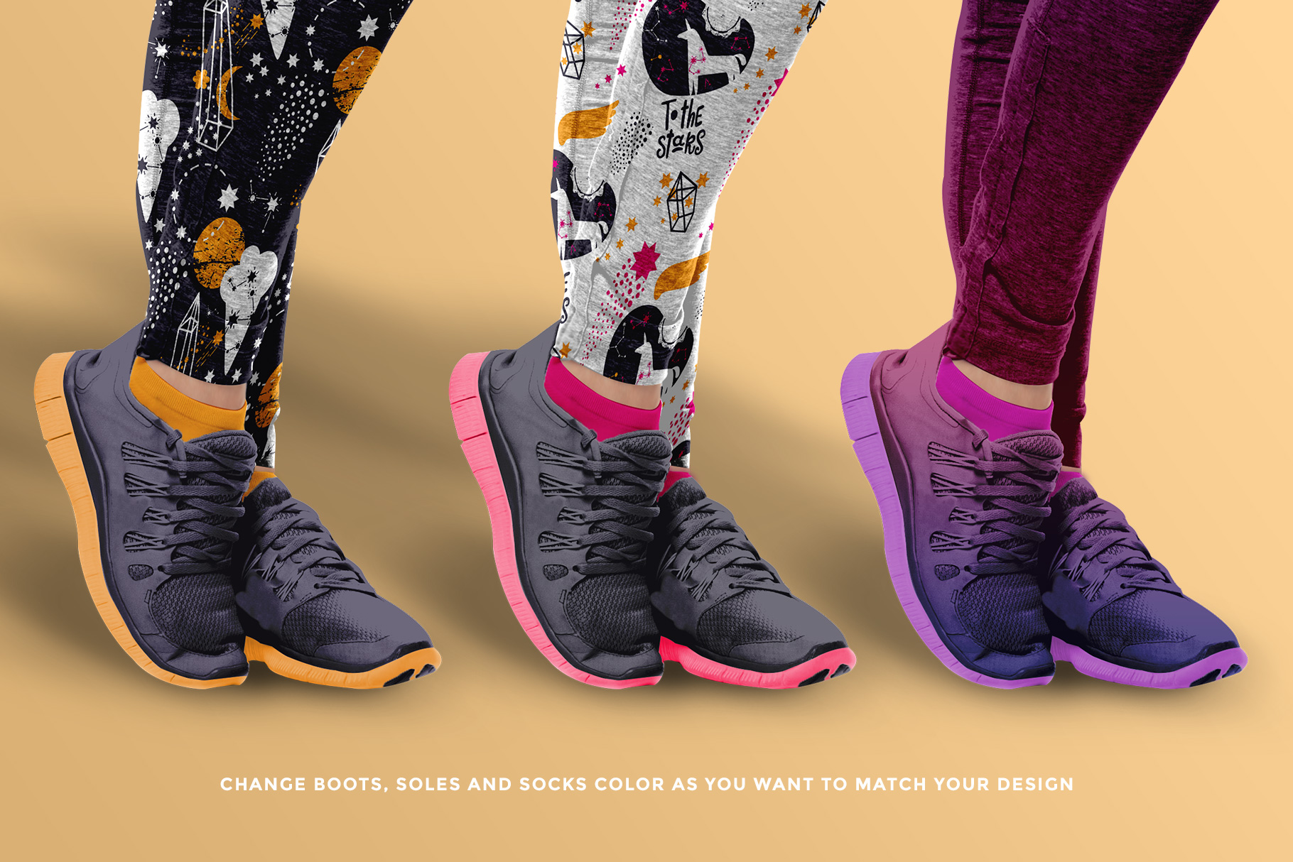 special shoe features of the female fitness outfit mockup