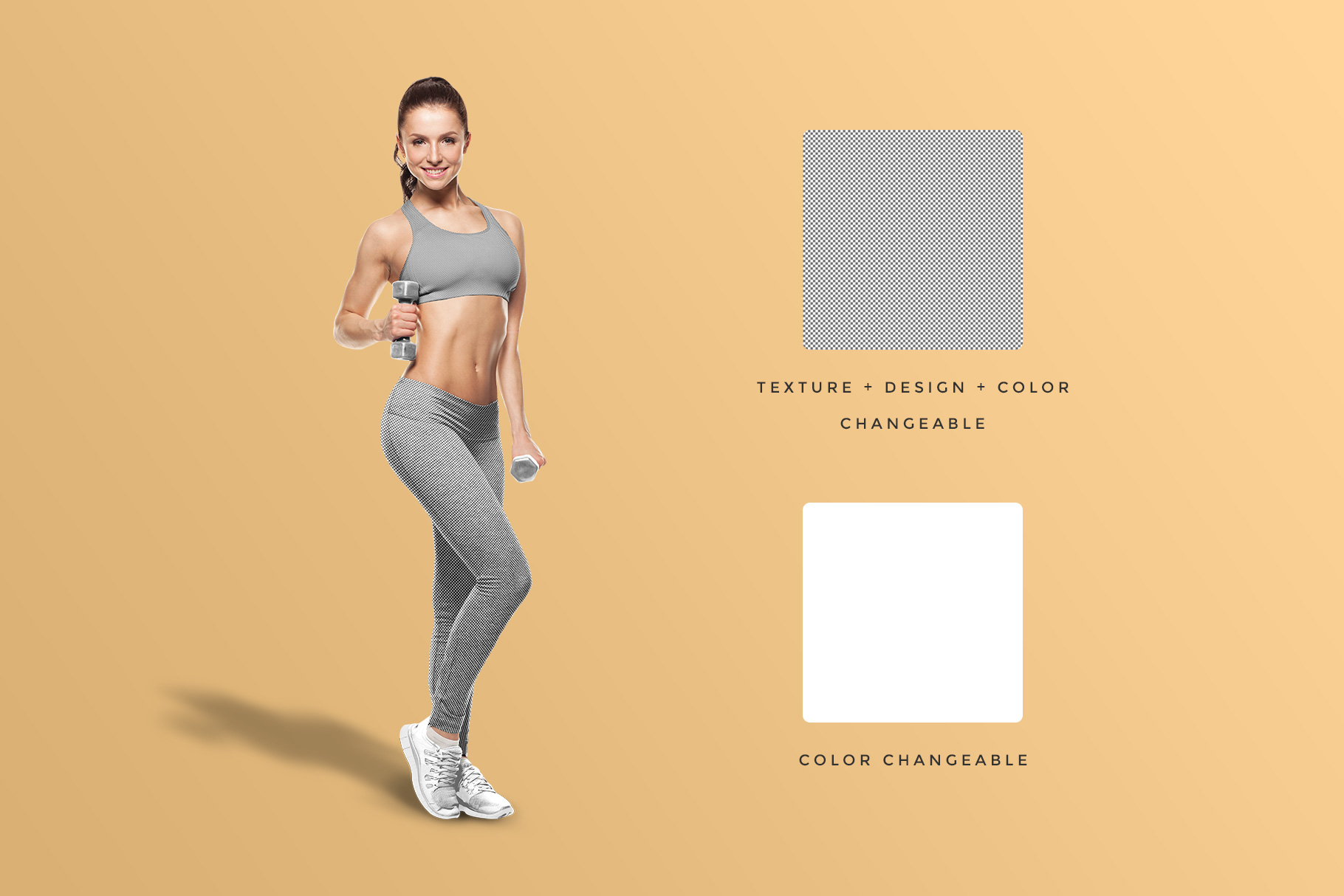 editability of the female fitness outfit mockup
