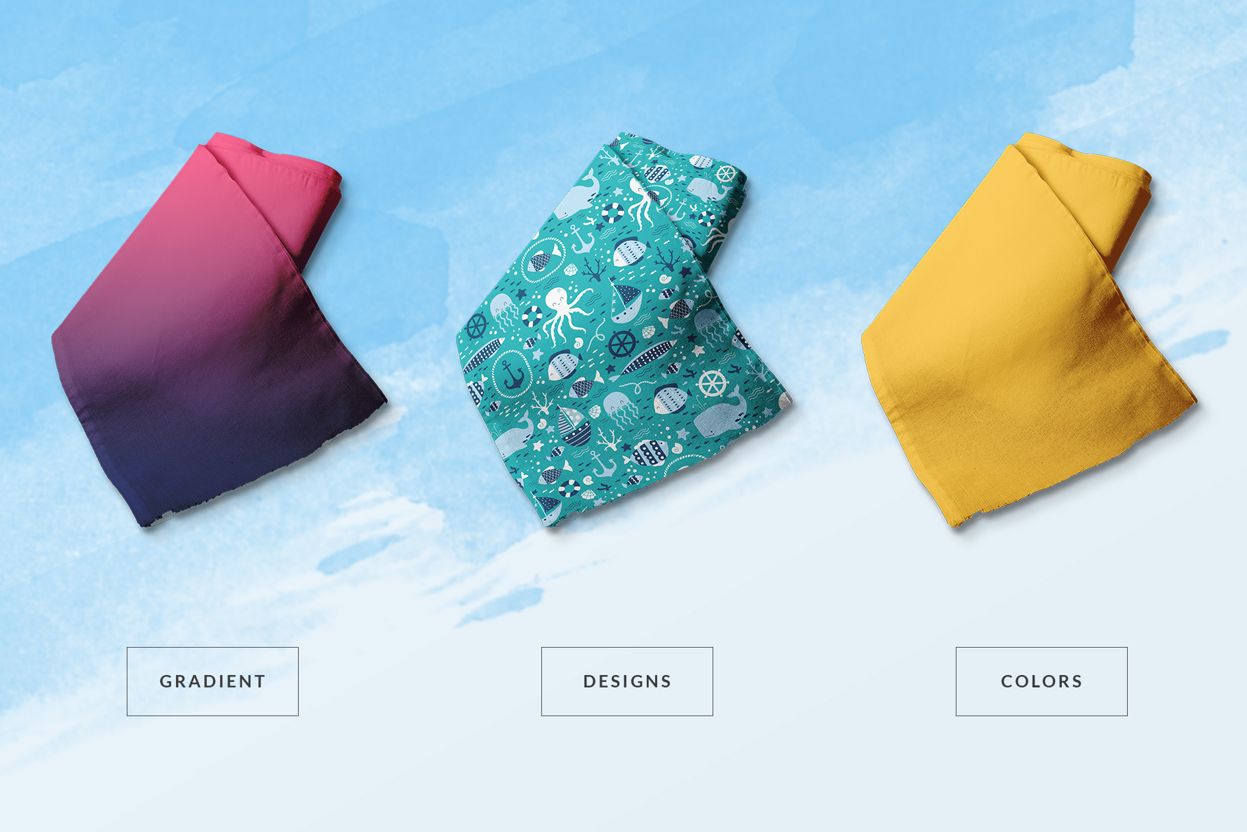 types of the fabric roll mockup vol.2