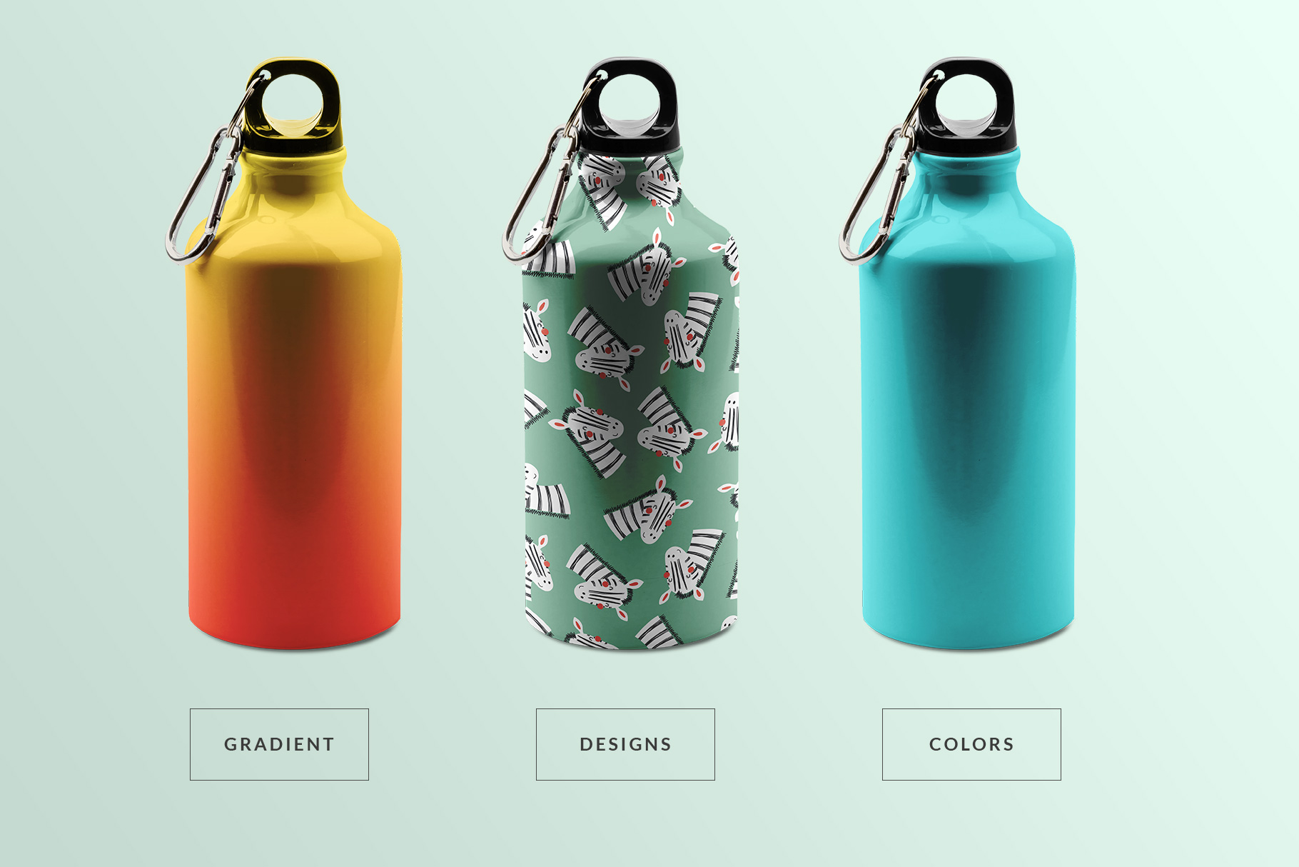 types of the stainless sports water bottle mockup