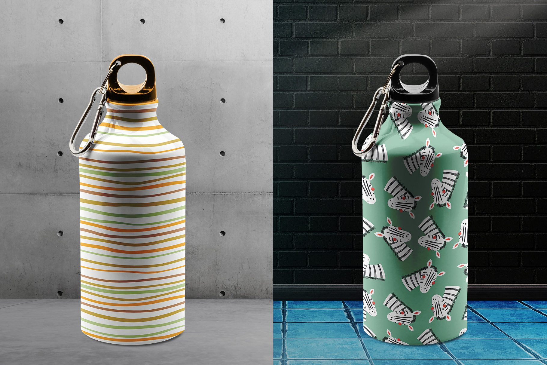 background options of the stainless sports water bottle mockup