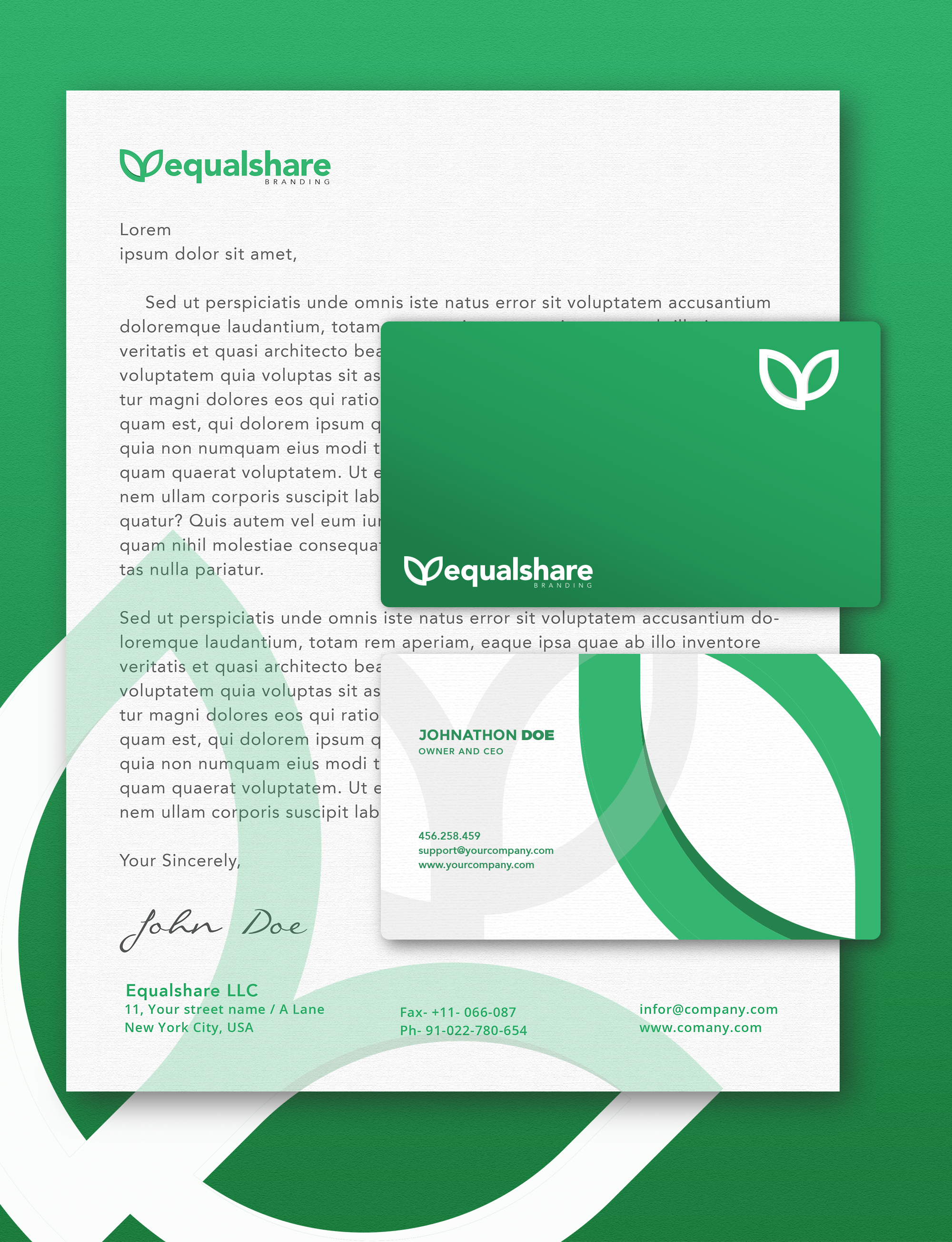 how to arrange a business card and letterhead on a template when sending a logo to client