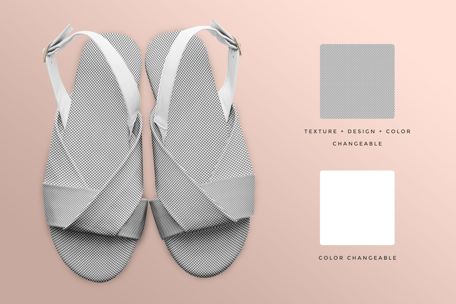 editability of the women's slingback sandal mockup