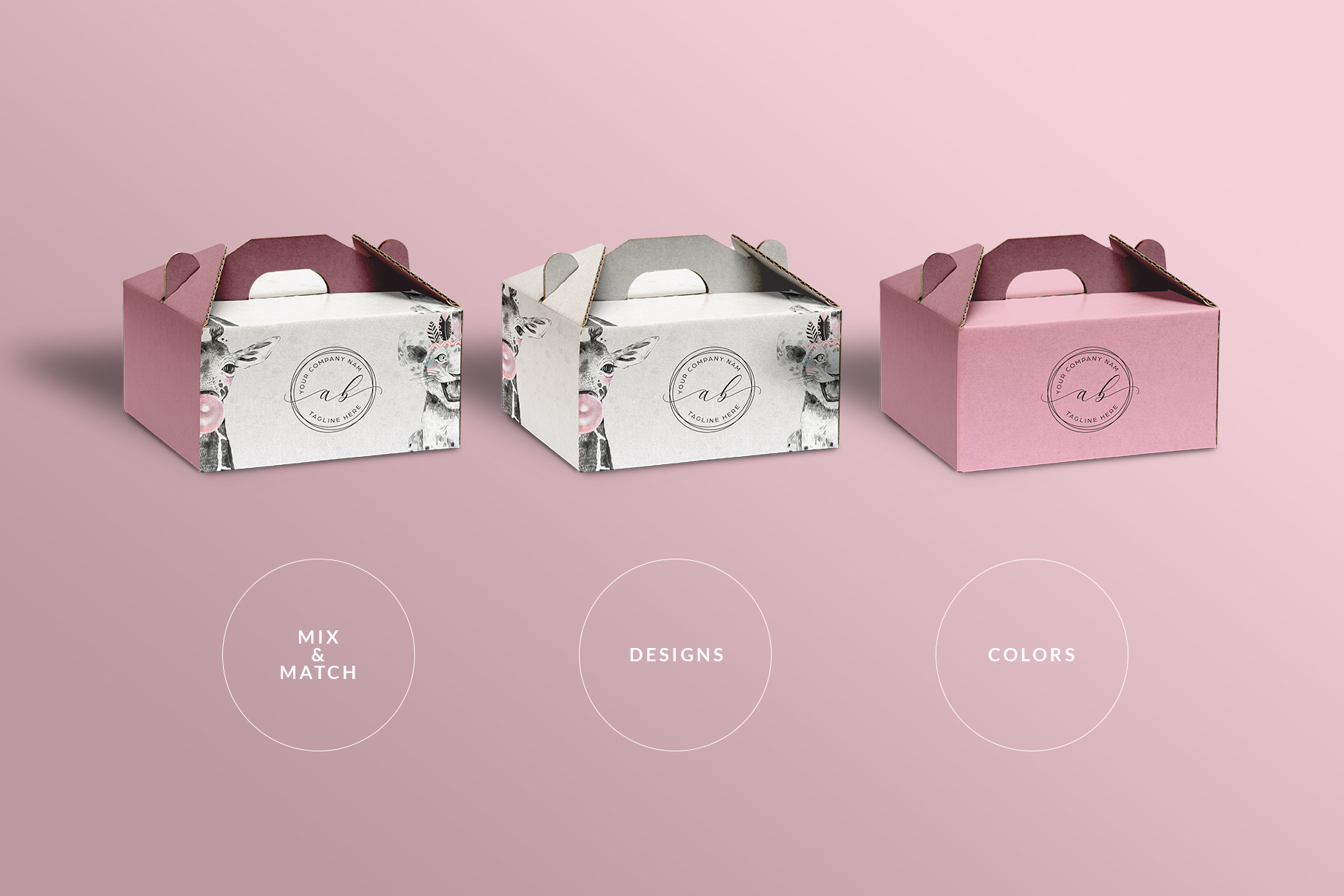 types of the cake box packaging mockup