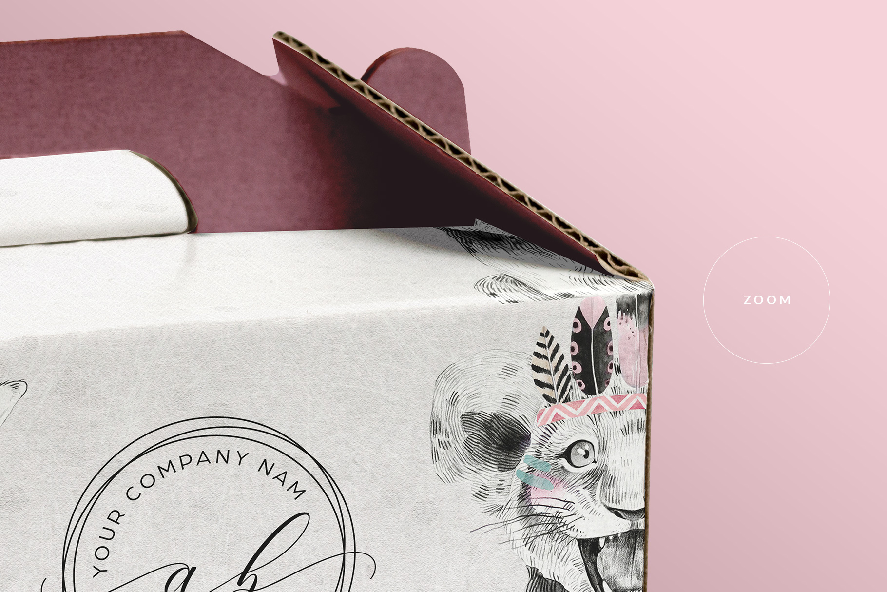 zoomed in image of the cake box packaging mockup
