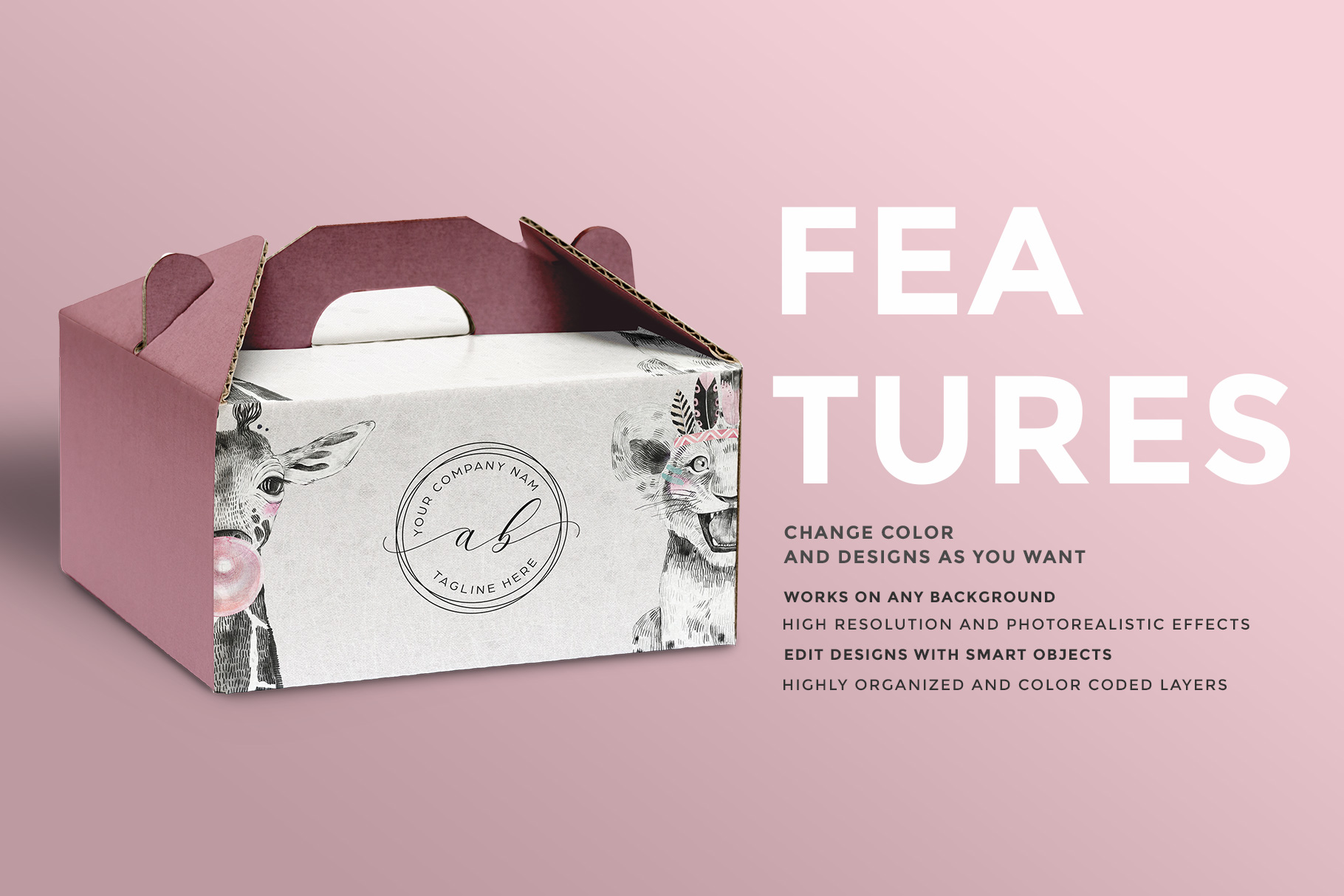 features of the cake box packaging mockup